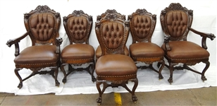 (6) Renaissance Revival Leather Upholstered Lion Head Chairs