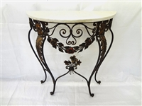 Demi Lune White Marble Top Cast Iron Plant Stand