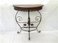 Victorian Demi Lune Cast Iron Wood Top Plant Stand