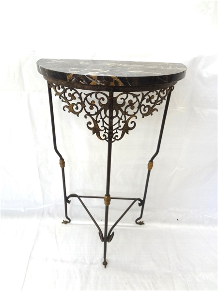 Demi Lune Marble top Cast iron Plant Stand