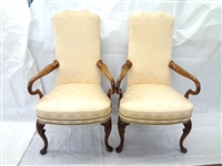 Pair Queen Anne Shepards Hook Arm Parlor Chairs