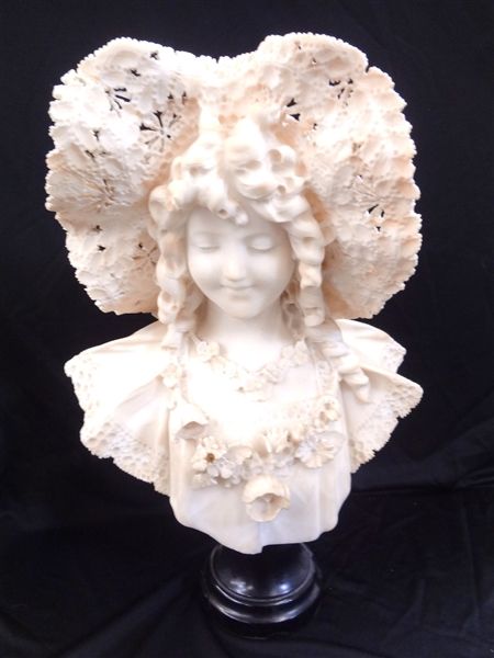 Adolfo Cipriani Marble Female Portrait Bust Reticulated Hat