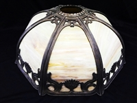 Eight Panel Slag Glass Lamp Shade Art Nouveau Style Metal Frame
