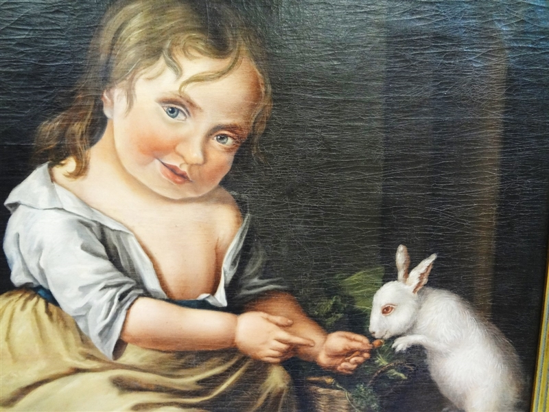 Incredible Folk Art Oil Painting on Canvas Girl Feeding Rabbit