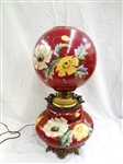 Large Gone With the Wind Banquet Lamp Hand Painted Roses