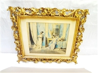 Watercolor Painting set in Palatial Style Gilt Carved Frame