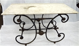 Brass Mounted Cast Iron Marble Top Bakers Table
