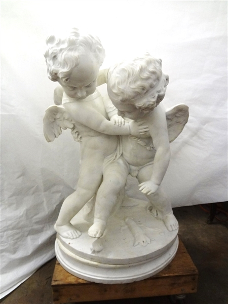 Marble Sculpture of Eros and Anteros Putti Group After Original by Francois-Joseph LeClercq (1755-1826)