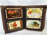 Vintage Postcard Album with 275 Turn of the Century Birthday Postcards and Cards