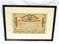 Confederate States of America $100 Bond Sheet Framed