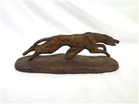 F. Chaney Greyhound Patinated Cast Iron Sculpture