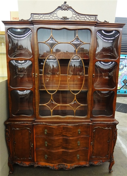 Two Piece Breakfront Cabinet Bubble Glass Pierce Carved Fret Work