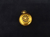14K Gold Elgin Pocket Watch with Blue Enamel and 5 Diamond Chips