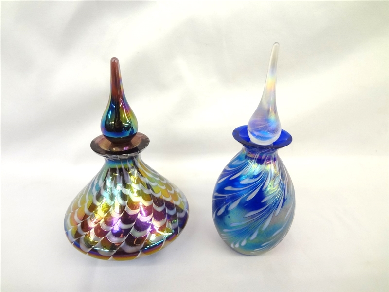 (2) Iridescent Glass Prefume Bottles: After Lundberg, Glass Art Studios