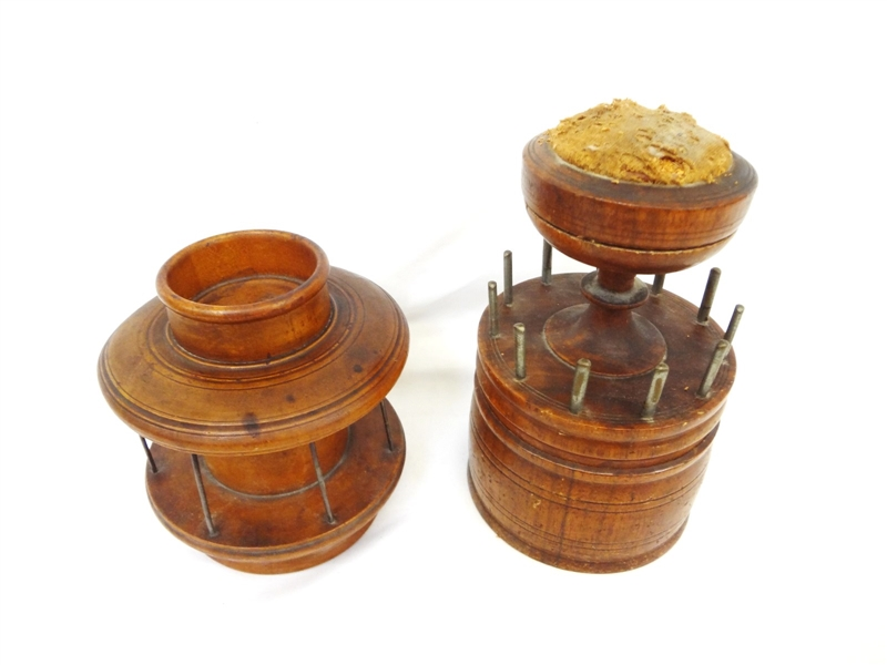 (2) Turn of the Century Antique Wooden Spool Sewing Holders