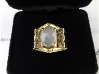 14k Gold Star Sapphire & Diamond Ring GLA Certified