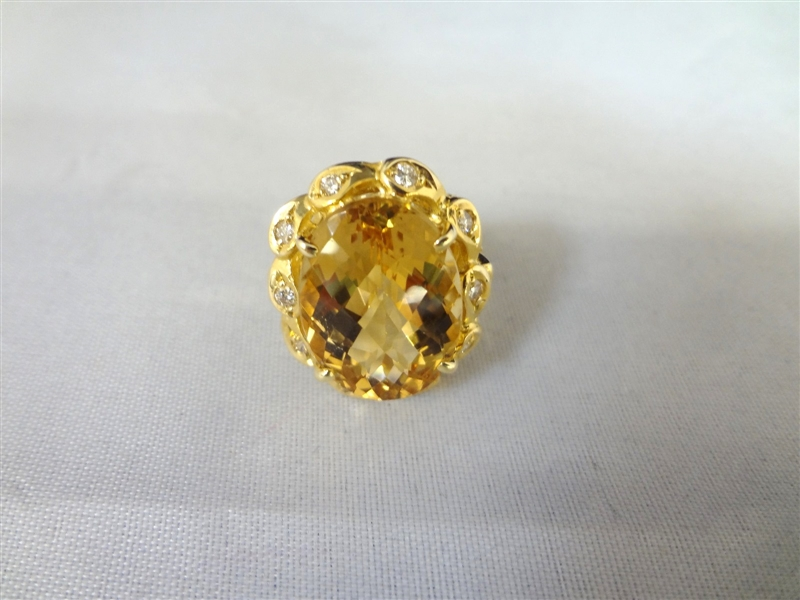 14k Yellow Gold Yellow Beryl and Diamond Ring GLA Certified & Appraised