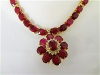14k Yellow Gold (105 Carat) Mozambique Ruby and (1.02 Carat) Diamond Necklace with GLA Certification & Appraisal