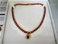 14k Yellow Gold (76.84 Carat) Mozambique Ruby & (1.32 Carat) Diamond Necklace GLA Certified & Appraised