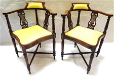 Pair of English Edwardian Style Corner Chairs