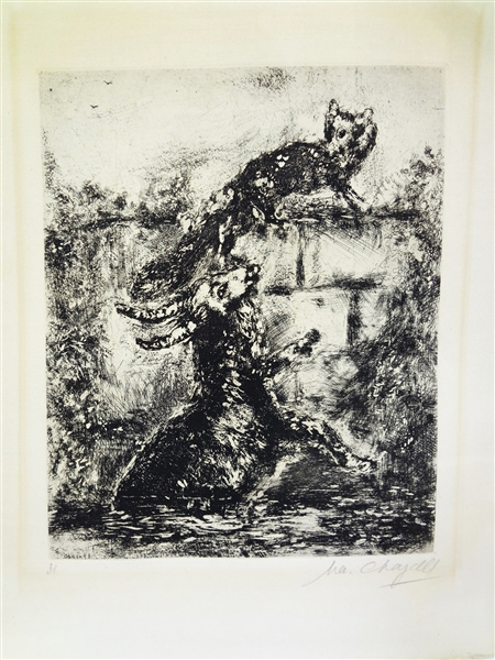 Marc Chagall The Fox and The Ram Etching Plate 31/200