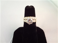 14K Gold Ring Wedding Set Cubic Zirconia Center Stone, Band Size 6.75