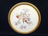 Hand Embroidered Chinese Silk Framed Birds of Paradise Art