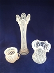 Northwood Spanish Lace Vase and 2 Other Opalescent Glass Pieces