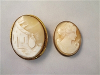 (2) Victorian Carved White Shell Cameos: Portrait and Landscape