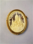 Victorian Carved Relief Church Shell Cameo