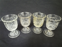 "(4) Lincoln Drape Glass Cordials 4"" Tall"