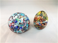 (2) Murano Millefiori Scattered Canes Paperweights