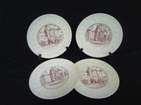 (4) Wedgwood Creamware China Chargers Wesleyan College in Cleveland, Ohio