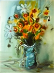 "Emil Moraru (Moldavian 1938) Watercolor ""Still Life With Flowers"" 1996"