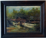 1935 Oil On Canvas Pennsylvania Rural Landscape