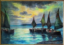Schooners on Lake Balaton Signed Fulop Oil On Canvas