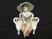 "Lladro ""Girl on Bench with Parasol"" 1978"