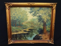 "Grace Nash Original Oil on Canvas ""The Quiet Stream"" From Chicago Artist Exposition"