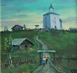 Mark Kremer (Russian, b. 1928) Oil on Board Evening Worship