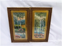 Pair Original Watercolor Paintings F.D. Barton 1920
