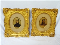 Civil War Captain and Wife Hand Colored Portraits in Gilt Frames