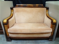 High Back Inlaid Mother of Pearl Wood Highback Sofa Paw Feet