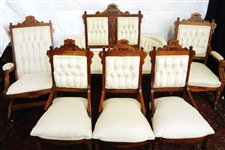 Eastlake Style Parlor Set: Settee, Rocker, King Chair, and Side Chairs