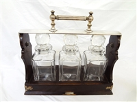 Tiffany and Co. Betjemanns Tantalus Nickel and Oak Decanter Set