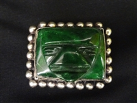 Nephrite Jade and Sterling Silver Mexico Carved Face Brooch