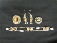 Israel Sterling Silver Tiger and Cats Eye Jewelry Group