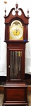 R. J. Horner Grandfather Clock Mahogany Case J.J. Elliott Movement, Harrington Chime Tubes