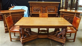 Italian Renaissance Revival (10) Piece Dining Set, Carved Frieze, Full Lion Detail