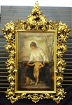 Massive Palatial Museum Quality Gilt Wood 19th Century Carved Baroque Frame With Inset Original Oil Painting