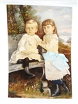 Original Pastel on Cloth Attached to Cloth of Two Young Children Signed O.W. Grabee